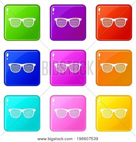 Black pinhole glasses icons of 9 color set isolated vector illustration