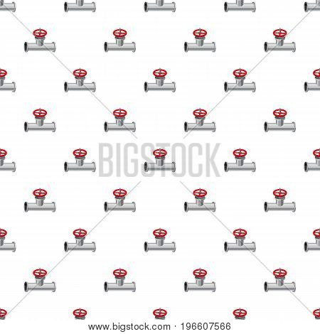 Pipe with a valve pattern seamless repeat in cartoon style vector illustration