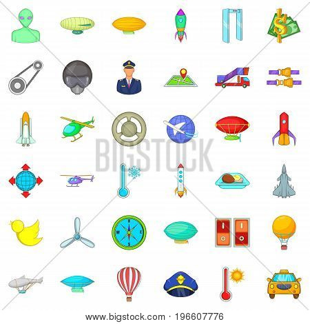 Air force icons set. Cartoon style of 36 air force vector icons for web isolated on white background