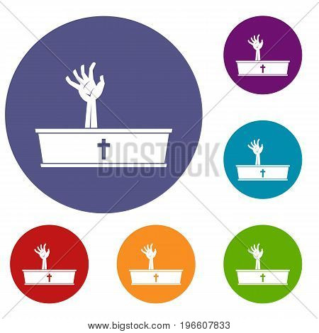 Zombie hand coming out of his coffin icons set in flat circle red, blue and green color for web
