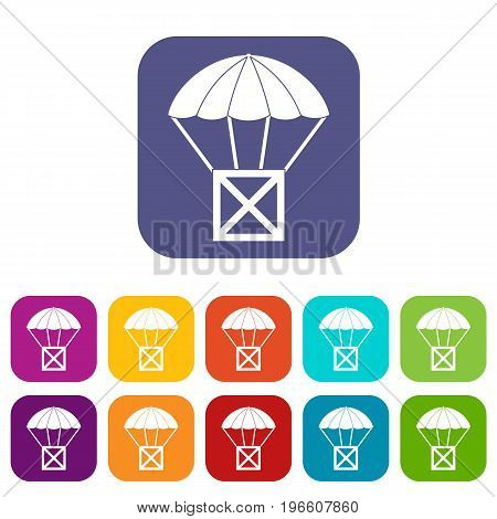Balloon icons set vector illustration in flat style in colors red, blue, green, and other