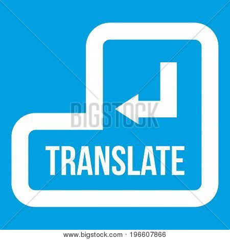 Translate button icon white isolated on blue background vector illustration