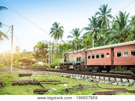 Train station, locomotive, railway road, Sri Lanka
