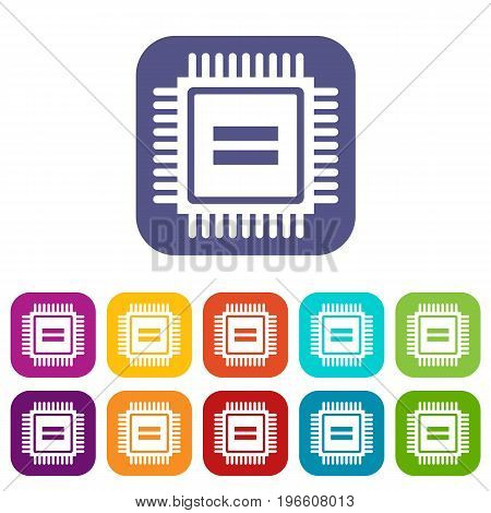 Electronic circuit board icons set vector illustration in flat style in colors red, blue, green, and other