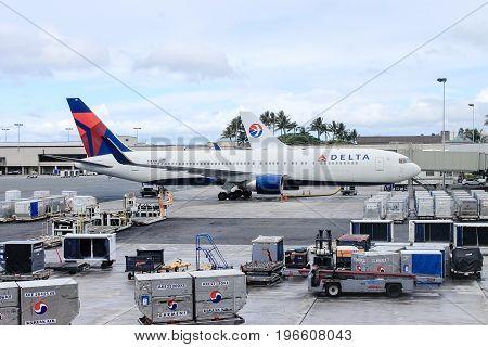 Honolulu Hawaii USA - May 31 2016:Delta Aircraft preparing for a flight at Honolulu International Airport