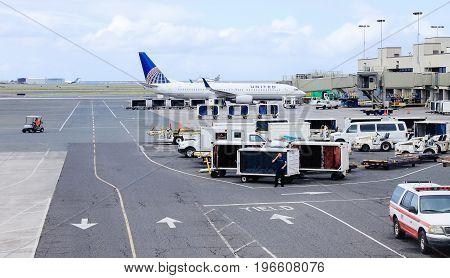 Honolulu Hawaii USA - May 31 2016: United Airline Aircraft on the tarmac at Honolulu International Airport