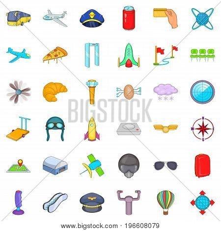 Big airport icons set. Cartoon style of 36 big airport vector icons for web isolated on white background