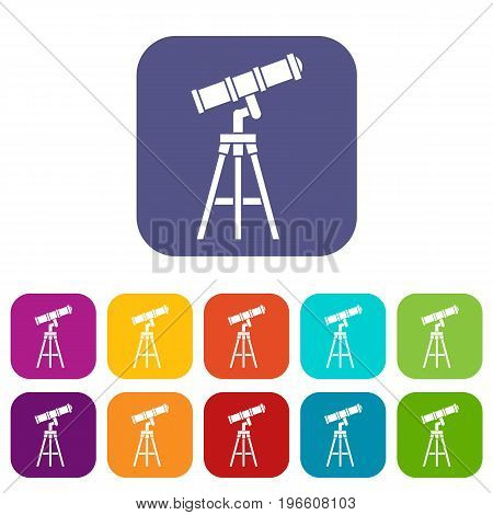 Telescope icons set vector illustration in flat style in colors red, blue, green, and other