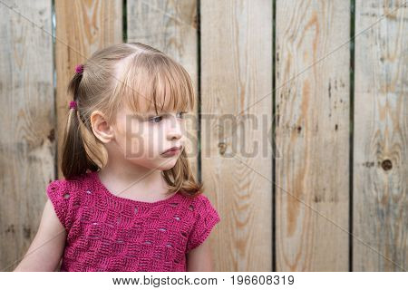 Portrait of a little four-year-old girl outdoors on a wooden fence background.