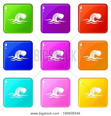 Foamy wave icons of 9 color set isolated vector illustration