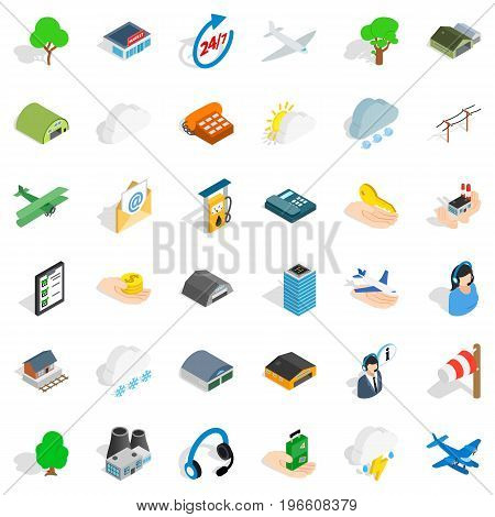 Airport icons set. Isometric style of 36 airport vector icons for web isolated on white background