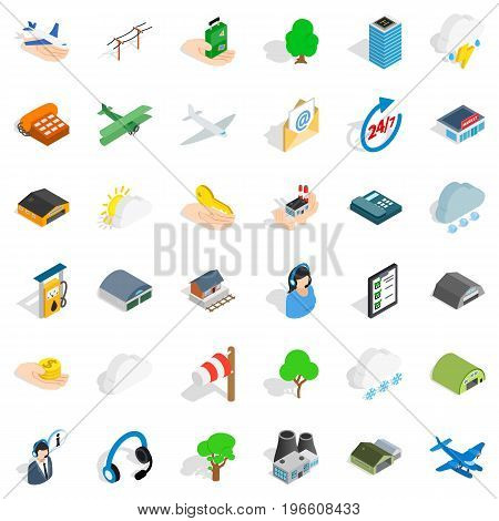 Terminal icons set. Isometric style of 36 terminal vector icons for web isolated on white background