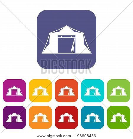 Tent icons set vector illustration in flat style in colors red, blue, green, and other