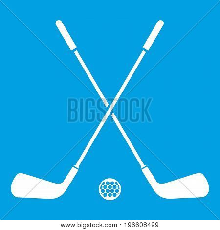 Two crossed golf clubs and ball icon white isolated on blue background vector illustration