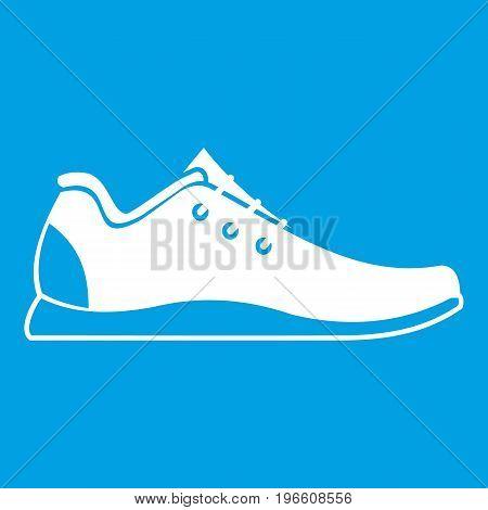 Athletic shoe icon white isolated on blue background vector illustration