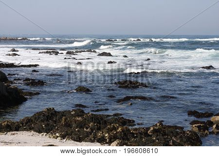This is an image of an incoming tide, waives and rocks at Asilomar Reserve taken early in the morning.
