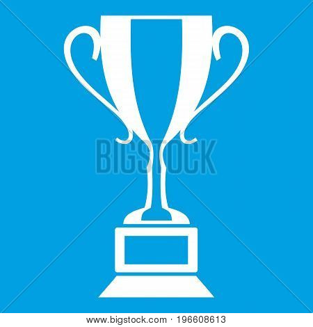 Trophy cup icon white isolated on blue background vector illustration