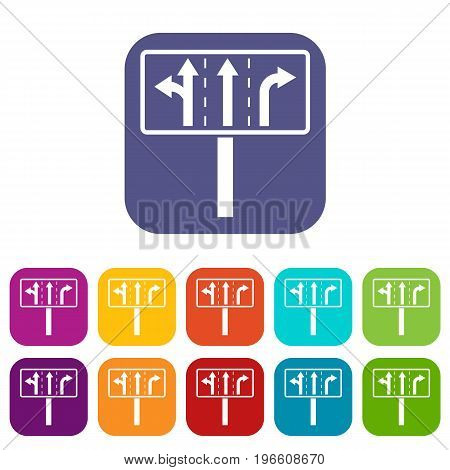 Traffic lanes at crossroads junction icons set vector illustration in flat style in colors red, blue, green, and other