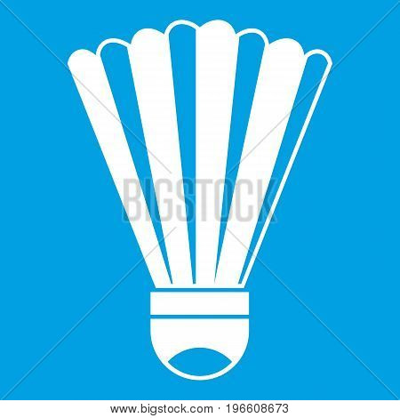Shuttlecock icon white isolated on blue background vector illustration