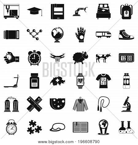 Swiss things icons set. Simple style of 36 swiss things vector icons for web isolated on white background