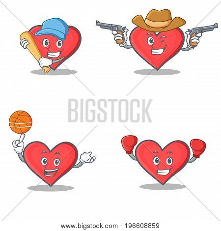 Set of heart character with baseball cowboy basketball boxing vector illustration