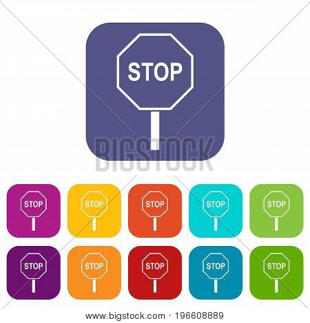 Stop road sign icons set vector illustration in flat style in colors red, blue, green, and other