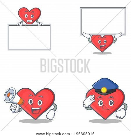Set of heart character with board megaphone police vector illustration