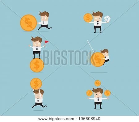 set of businessman and money coin money management concept cartoon vector illustration