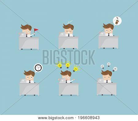 set of businessman working at work desk cartoon vector illustration
