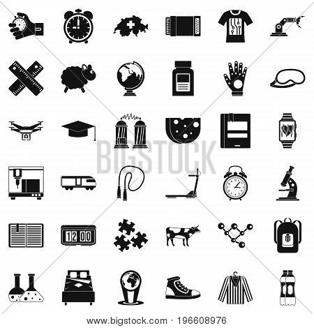 Swiss science icons set. Simple style of 36 swiss science vector icons for web isolated on white background