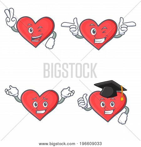 Set of heart character with two finger wink graduation vector illustration