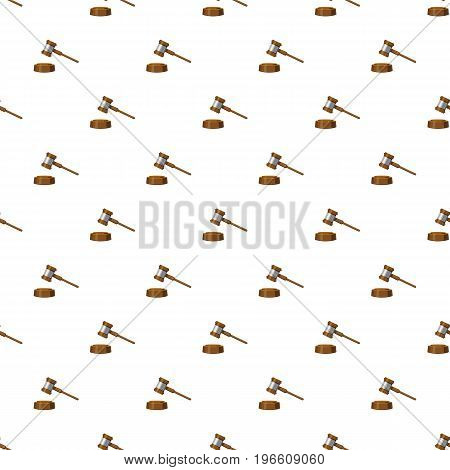 Gavel pattern seamless repeat in cartoon style vector illustration