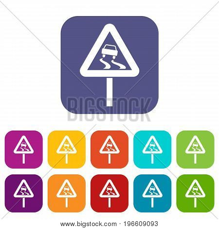 Slippery when wet road sign icons set vector illustration in flat style in colors red, blue, green, and other
