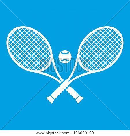 Crossed tennis rackets and ball icon white isolated on blue background vector illustration