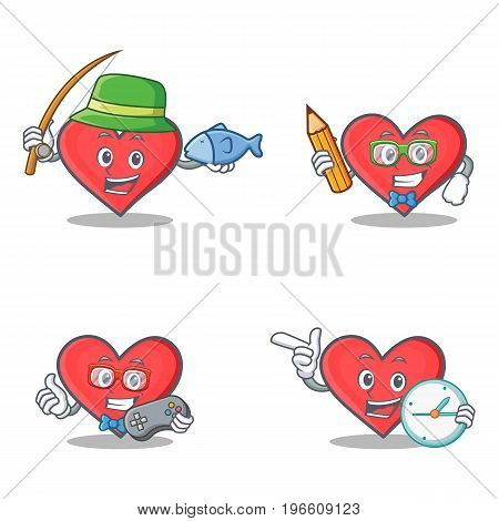 Set of heart character with fishing student gamer clock vector illustration
