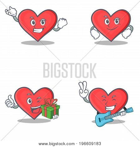 Set of heart character with successful smirking gift guitar vector illustration