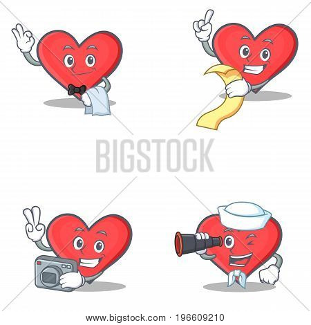 Set of heart character with waiter menu photo binocular vector illustration