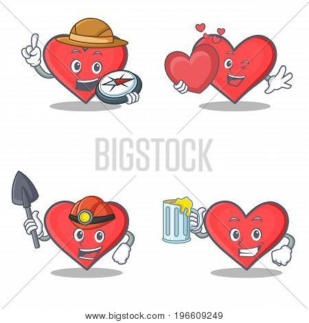Set of heart character with explorer miner love juice vector illustration