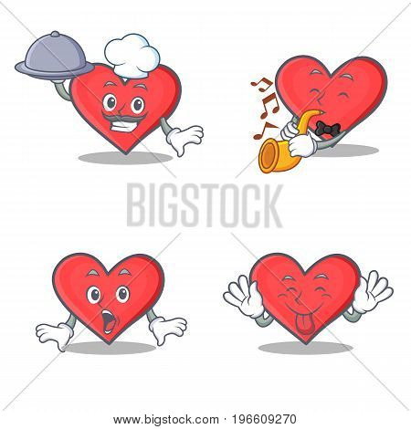 Set of heart character with chef trumpet surprised tongue out vector illustration