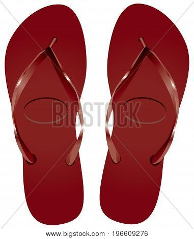 Classical beach shoes - claret slippers. Vector illustration