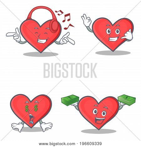 Set of heart character with listening music call me money eye vector illustration
