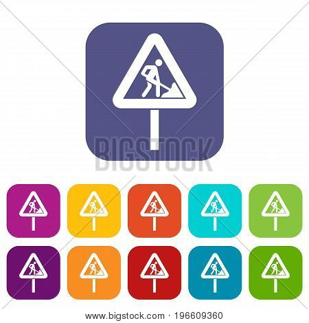 Road works sign icons set vector illustration in flat style in colors red, blue, green, and other