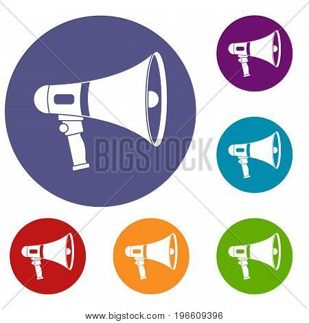 Megaphone icons set in flat circle red, blue and green color for web