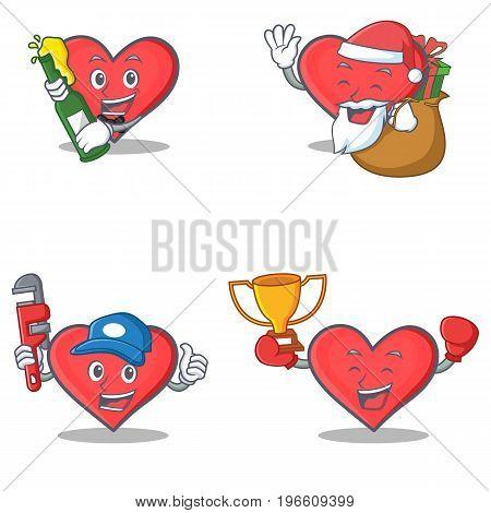 Set of heart character with beer Santa gift plumber winner vector illustration
