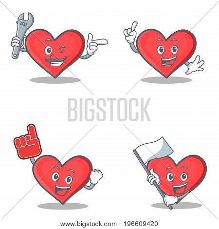 Set of heart character with mechanic foam finger flag vector illustration