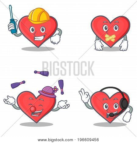 Set of heart character with automotive silent juggling headphone vector illustration