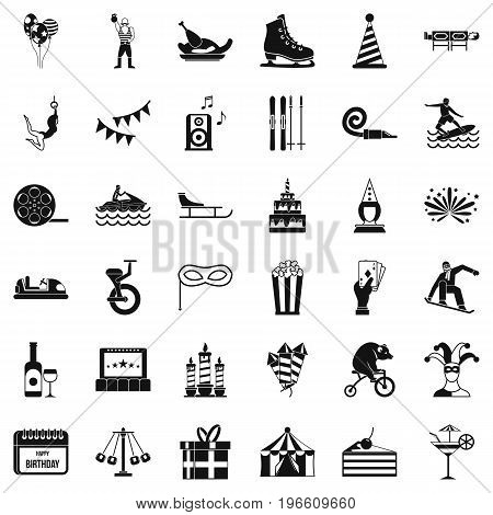 Amusement icons set. Simple style of 36 amusement vector icons for web isolated on white background