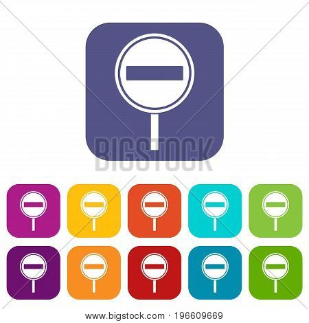 No entry sign icons set vector illustration in flat style in colors red, blue, green, and other