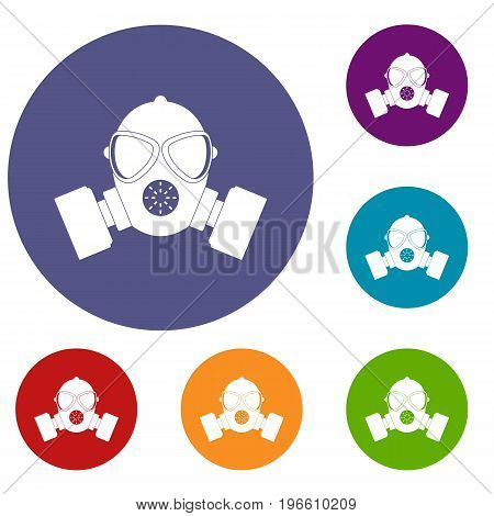 Respirator icons set in flat circle red, blue and green color for web