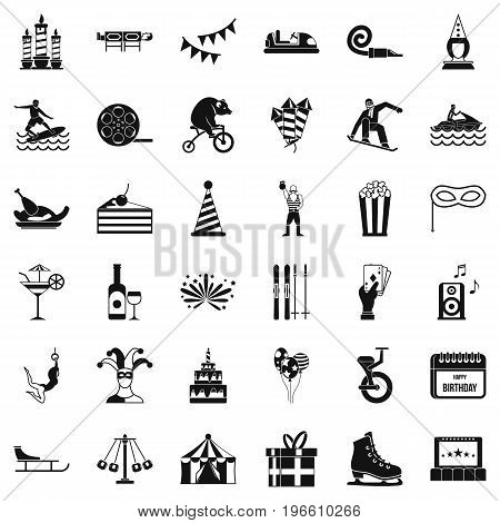 Exhibition icons set. Simple style of 36 exhibition vector icons for web isolated on white background